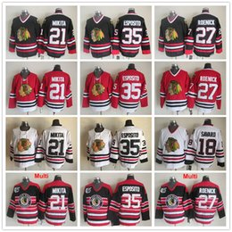 Wholesale Roenick Jersey - Vintage Chicago Blackhawks 18 Denis Savard 35 Tony Esposito 21 Stan Mikita 27 Jeremy Roenick Red Black White Vintage Ice Hockey Jerseys