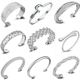 Wholesale Mix Fashion Bangle - infinity Bracelets 925 Sterling Silver Fashion Charms Bangle Bracelet Retro Vintage Mixed Styles Jewelry for Women Christmas Gift Wholesale