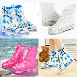 Wholesale Plastic Shoe Rain Covers - Waterproof PVC Reusable Rain Shoe Covers Anti-Slip Printed RainShoe Zipper Rain Boot Overshoes Waterproof Wear Resistant Shoes Cover