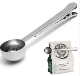 Wholesale Ice Cream Clips - Stainless Steel Coffee Tea Measuring Scoop Spoon with Bag Seal Clip Milk Powder Flesh Espresso Tea Scoop Ice Cream Spoon Kitchen Tools