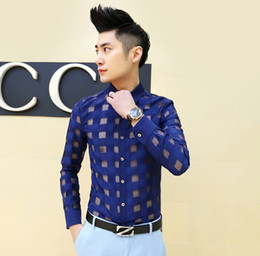 Wholesale Men S Korean Casual Shirt - Wholesale- Men Shirt 2017 Spring Korean Mens See ttrough Lace Dress Shirts Men's Sexy Fashion Cool Men Club Wear Long-Sleeve Plaid shirts