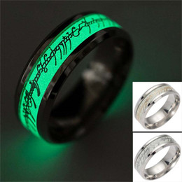 Wholesale Finger Ring Patterns - New Stainless steel The Lord Of Ring Fluorescent Glowing Logo Finger Rings Glow In The Dark Gold Silver Pattern Rings Lort Wedding Ring