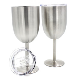 Wholesale Carved Wall - 28hk Wine Glasses Stainless Steel Tumber With Lid 400ML Cups Metal Goblet Mug Double Walled Margarita Glass Cup New Arrival