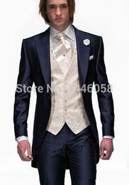 Wholesale Mens Champagne Wedding Suit - Wholesale- 2017 Tailcoat Morning Style Mens Wedding Suits Navy Blue Groom Tuxedos Wedding Tuxedos Groomsmen Suit 3 Piece Best Men Suit