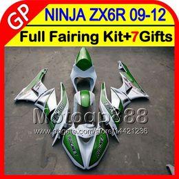 Wholesale Kawasaki 636 Race Fairings - Race green 7gifts For KAWASAKI NINJA ZX 6 R ZX636 09-12 ZX6R 09 10 11 12 5GP20 ZX 636 ZX-6R ZX 6R 2009 2010 2011 2012 TOP Race green Fairing