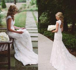 Wholesale Open Back Short Wedding Dresses - Alluring Lace Wedding Dresses V Neck Cap Sleeves Appliques Tulle Open Back Vintage Mermaid Wedding Gowns Chapel Train