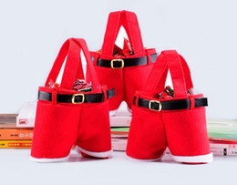Wholesale Cute Hot Pants - Hot Sale christmas decorations Red Plush Cute Santa Pants Gift bags christmas Wedding Candy Bags free shipping