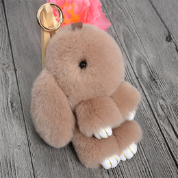 Wholesale Boys Party Bags - Free Cute Mini Rabbit Fur Pom Pom Key Chain Women Trinket Bunny Toy Doll Bag Car Key Ring Monster Keychain Party Jewelry Gift