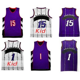 Wholesale High Quality Kids - cheap Retro Vince Carter Jersey Kid youth adult Tracy McGrady Cheap Throwback Basketball jerseys Embroidery Logo High quality Fast Shipping