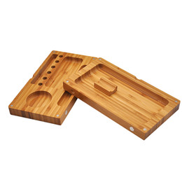 Wholesale Magnetic Bamboo - Backflip Bamboo Wooden Rolling Trays Papers Smoking Tobacco Bamboo Tray Wooden Box Foldable 2 Layers Magnetic Connection Trays