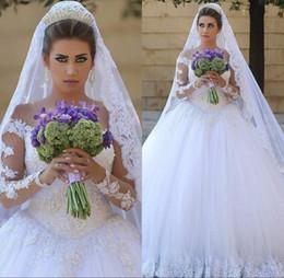 2019 dubai vestidos de baile Tule Elegante Árabe Dubai Vestidos de Casamento Mangas Compridas Beadings vestido de Baile Apliques de Renda Sheer Vestidos de Noiva dubai vestidos de baile barato