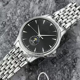 2019 39mm relojes deportivos Alta calidad Master Ultra Thin Moonphase Cal.925 Negro Dial automático para hombre reloj de zafiro de cristal de acero inoxidable banda 39 mm Gent relojes deportivos rebajas 39mm relojes deportivos