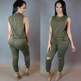 Wholesale Army Jumpsuit - Hot candy colors sleeveless waist draw string knee holes back zipper bodycon jumpsuits slim hip rompers skinny siamese trousers pants
