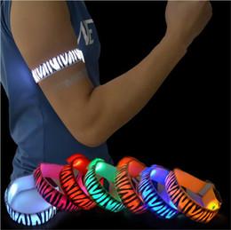cinturones de cebra Rebajas Zebra Stripes Arm Warmer Belt Bike LED Brazalete LED Deportes de seguridad Reflectante Correa de correa Snap Wrap Arm Band Brazalete DHL Envío gratis