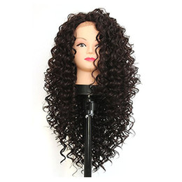 Wholesale Burgundy Long Half Wig - Long Afro Kinky Curly Synthetic Lace Front Wigs For Black Women Heat Resistant Half Hand Tied Fiber Hair Black Color Synthetic Wigs