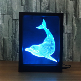 Wholesale Cups Photos - 3D Dolphin LED Photo Frame Decoration Lamp IR Remote 7 RGB Lights DC 5V Factory Wholesale Drop Shipping