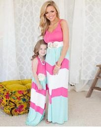 Wholesale Kids Maxi Dresses Wholesale - Trendy Mother and Daughter Boho Stripe Maxi Dress mommy me matching set outfits Casual A-Line Dress Ankle-Length mother & kids