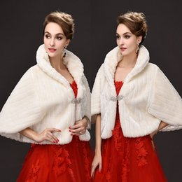 Wholesale Wrapping Hot Bride - Hot Sale 2017 New Bridal Wraps Faux Fur Shawl Jacket For Weddings White Ivory Winter Warm Rhinestone Bride Bolero CPA913