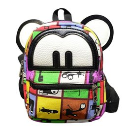 Wholesale Mini School Bags - 2017 Fashion Cute Mickey Ear Graffiti PU Leather Mini Female Backpacks Zipper Printing Children School Bags Teen Girls Mochilas