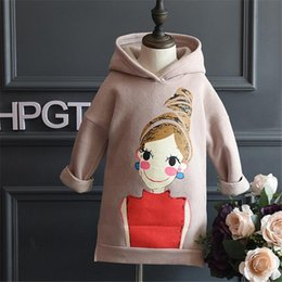 Wholesale Cute Korean Baby Boy Clothing - Wholesale- Fast High Quality Children Clothing 2016 Korean Cute Casual Long Character Fleece Pullovers Sweatshirt Outwear Baby Girl Clothes