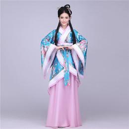 Wholesale Traditional Chinese Woman Costume - q0228 Traditional Chinese Beautiful Dance Hanfu Dress Chinese Dynasty Costume Ancient Chinese Tang Costume Hanfu Women's Hanfu Dresses