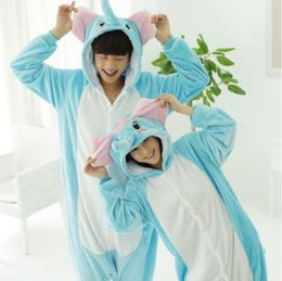 Wholesale Elephant Adult Pajamas - Blue Elephant Kigurumi Pajamas Animal Suits Cosplay Outfit Halloween Costume Adult Garment Cartoon Jumpsuits Unisex Animal Sleepwear