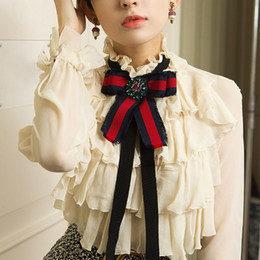 Wholesale Shirts Butterfly Sleeves - Sweet Chiffon Shirt Spring new arrival 2017 Butterfly Princess Long Sleeve Bow Diamonds Ruffled blouses High Quality Fashion Soft Shirt