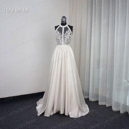 halter wedding dress corset Canada - Halter Bare Back Beaded Illusion Corset Wedding Dresses A line Sexy Real Photo Factory Custom Made