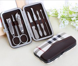 Wholesale Tools Wholesaler Usa - Nail tools 7 pcs manicure sets nail clippers scissors tweezer grooming care set nail art kits gifts 500pcs logo OEM free dhl to USA