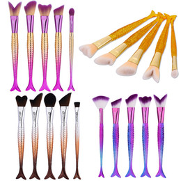 Wholesale Free Power Tools - Professional Make Up Brushes 5pcs lot Colorful Mermaid Makeup Brush Set for Foundation Power Blush Blend Cosmetic Beauty Tools Free DHL