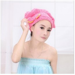 Wholesale Tools Remove Sold - Wholesale- Hot Selling Bathing Tools Coral Hair Drying Hat Super Absorbent Superfine Fiber Suction Hat Multi-Use Shower Cap