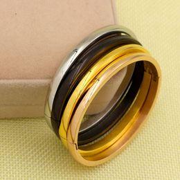 Braccialetto plain in acciaio inossidabile online-Semplice paio di gioielli lisci in acciaio inox oro rosa amante del colore braccialetto pianura amore braccialetti braccialetti per uomini donne presenti