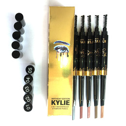 Wholesale Eyebrow Paint - New Hot Kylie Eyebrow Pencil Gold Edition Waterproof Double ended with blush 2in 15 Colors Paint Long Lasting Comestic