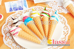 Wholesale Ice Cream Favors - Wholesale-10pcs lot Ice Cream style magnet pen kids birthday party supply baby shower favors souvenirs christmas creative gift