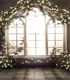Wholesale Printing Pictures - 8x12ft Romantic Wedding Photo Backdrops Retro Vintage French Window Spring Flowers Studio Decor Props Photography Picture Background Cloth