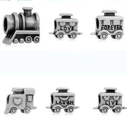 Wholesale Pandora Carriage - comejewelry Love Forever Train Carriage Transportation Stainless Steel Beads Fit For Pandora Bracelet European Style Jewelry for Making
