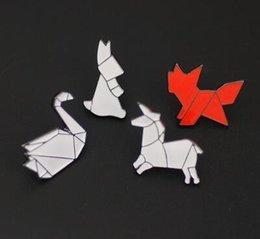 Wholesale Origami Japanese - Japanese cartoon cute enamel Brooch Student jewelry Animal dog unicorn horse Origami drop glaze Brooch Pins Badge Pinback Button Corsage Gif