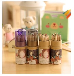 Wholesale Forest Coloring - Secret Garden Coloring Pencils Enchanted Forest Painting Pens Creative Writing Tools 12 colors Colored Pencils wa3801