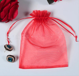 Wholesale Bags Weding - Lots Fahion net yarn bags jewelry pouches pearl storage bags tie up candy pockets weding pouches colorful DIY parts sotrage sack 13x18 cm