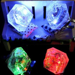 Wholesale Led Novelty Accessories - 10Pcs LED Large Flashing Finger Ring Lovely Light-up Simulated Rhinestone Rings For Birthday Party Novelty Jewelry Accessories