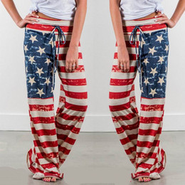 Wholesale Wide Legged Drawstring Pants - Panties Summer Loose American Flag Printed Drawstring Vintage Striped Wide Leg Pants USA Strapless Sequins Jumpsuits With Hip Pencil Pants
