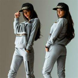 Wholesale Women Athletic Clothing - Women tracksuits sport suit athletic wear joggers Sportswear woman Tracksuit Clothing Clothes Costume pink letter Sweatshirt Pants set
