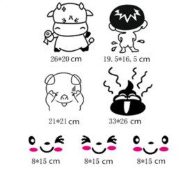 Wholesale Christmas Art Posters - Toilet Stickers Washroom Wall Art Sticker Decals Smiling Face Home Christmas Decoration DIY Removable Vinyl Wall Stickers Poster