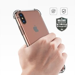 Wholesale Silm Phone - 2017 Soft TPU Anti-crash Phone Shell Case For iPhone X Transparent Protection Back Cover For Apple iPhone X Clear Silm Cases Free Shipping