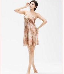 Wholesale Paisley Robe - Promotion Sexy Anti real silk Nightdress Women Elegant Camisole Summer Style Nightdress soft Bath Robe Bathrobe Sleepwear Same size 8852