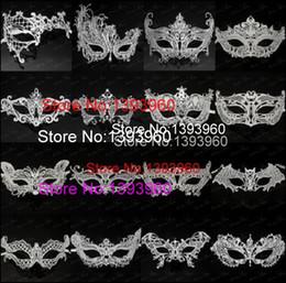 maschere veneziane bianche all'ingrosso Sconti Wholesale- White Carnival Masquerade mascaras maschere di halloween maschere di masque mascara maschere veneziane di masque