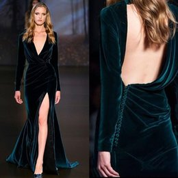 Wholesale Unique Long Party Dress - Runway Fashion Long Sleeve New Year Evening Gown V-Neck Backless Velvet Evening Dresses High Split Ruched Unique Party Dresses Prom Dresses