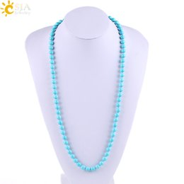Wholesale Pearl Shell Strand - CSJA 8mm Round Natural Shell Pearl Long Beaded Strand Sweater Necklaces for Women Blue Glaze Pearls Elegant Daily Life Jewelry or Gift E696