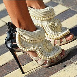 Wholesale Embellished High Heels - Beanding Embellished Summer Gladiator Sandals Pearl Suede Peep Toe Cutouts Back Zip High Heels Sandalias Mujer Women Shoes Woman