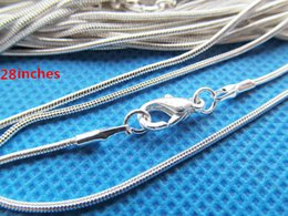 Wholesale Solid Silver Cross Chain - 28inches 1.20mm Solid Silver Plated Snake Link Chain Necklace Connector Charm Finding,6x10mm Lobster Clasp,DIY Accessory Jewellry Making
